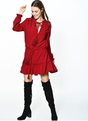 English Factory English Factory 9031D6Ff Püskül Detaylı Bor Renkli Kadın Elbise Bordo